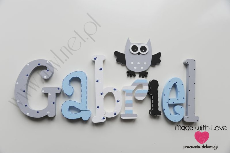 Literki imię dziecka na ścianę do pokoju - 3d  30 cm - wzór MWL129 gabryś gabrysiek gabriel