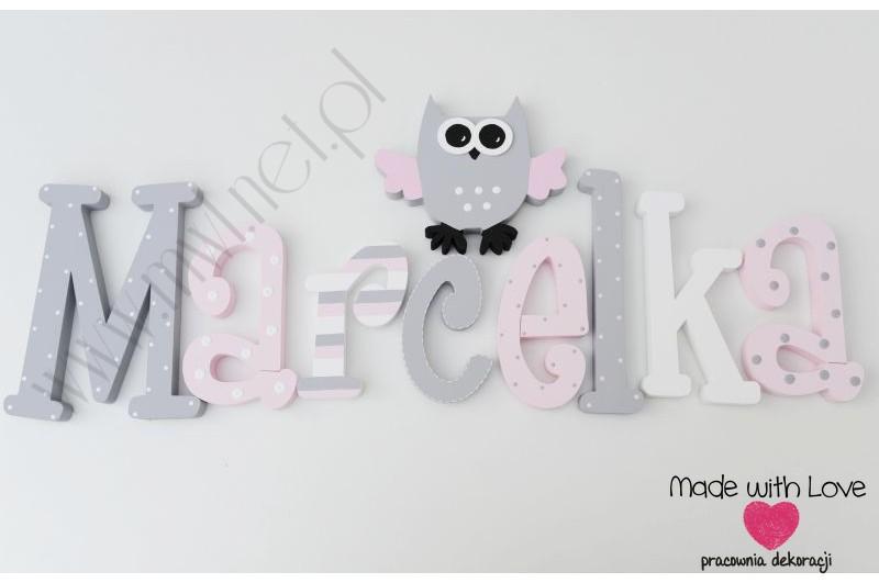 Literki imię dziecka na ścianę do pokoju - 3d 25cm - wzór MWL130 marcelka marcelina marcelinka