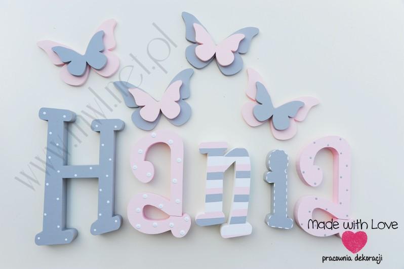Literki imię dziecka na ścianę do pokoju - 3d 25cm - wzór MWL130 hania hanna hanka haneczka