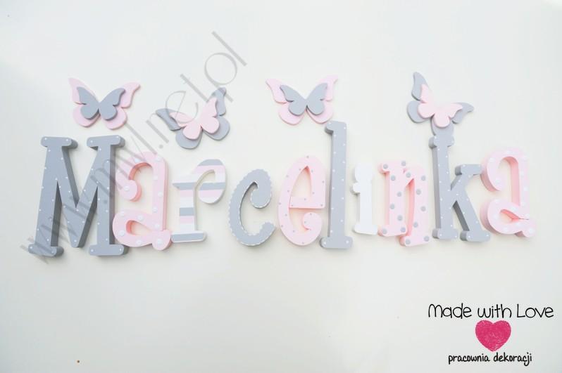Literki imię dziecka na ścianę do pokoju - 3d 25cm - wzór MWL130 marcelinka marcelina marcelka