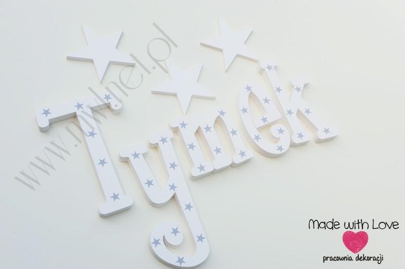 Literki imię dziecka na ścianę do pokoju - 3d 25cm - wzór MWL131 tymon tymek tymoteusz