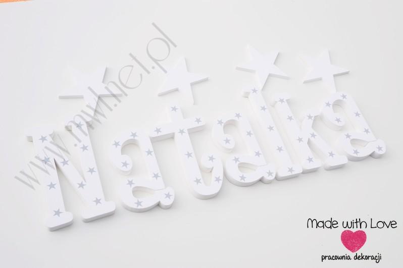 Literki imię dziecka na ścianę do pokoju - 3d 25cm - wzór MWL131 natalia nati natalka