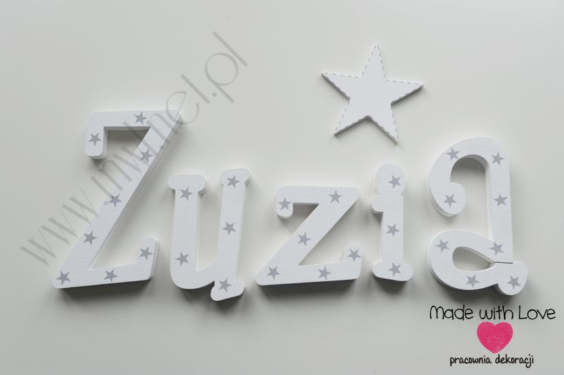 Literki imię dziecka na ścianę do pokoju - 3d  30 cm - wzór MWL131 zuzia zuzka zuzanna zuza