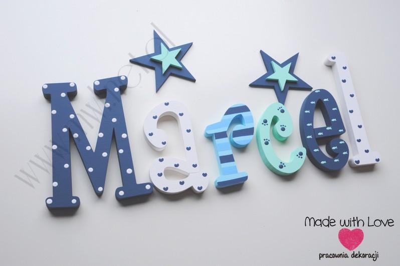Literki imię dziecka na ścianę do pokoju - 3d 25cm - wzór MWL133 marcel marcelek