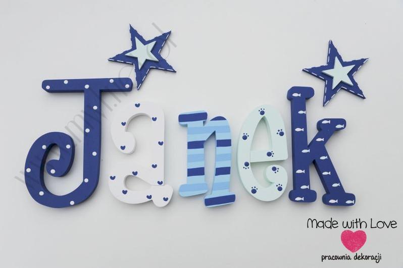Literki imię dziecka na ścianę do pokoju - 3d  30 cm - wzór MWL133 janek jaś jan jasiu