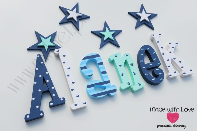Literki imię dziecka na ścianę do pokoju - 3d  30 cm - wzór MWL133 alan alanek