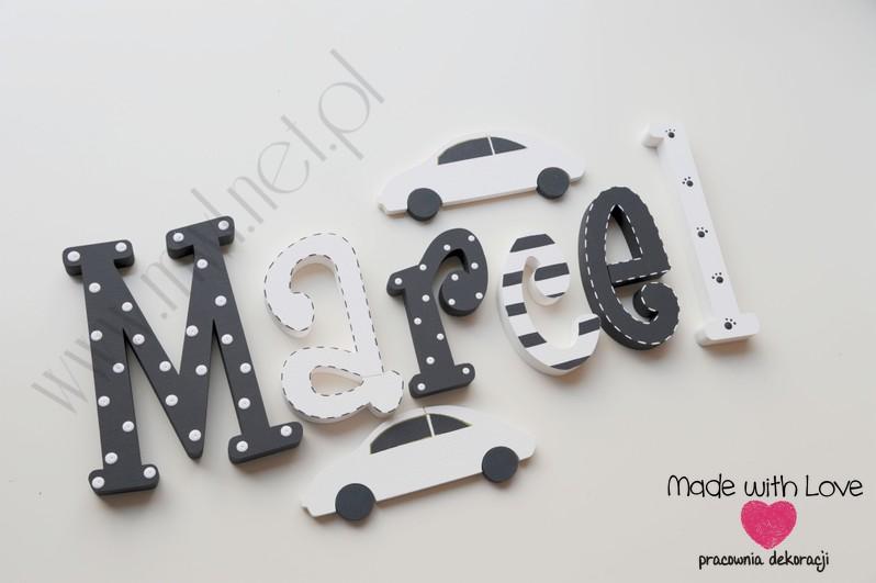 Literki imię dziecka na ścianę do pokoju - 3d 25cm - wzór MWL135 marcel marcelek