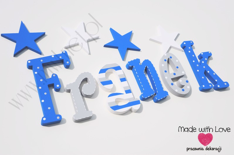 Literki imię dziecka na ścianę do pokoju - 3d 30cm - wzór MWL137 franio franek franciszek franuś