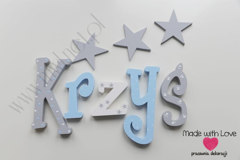 Literki imię dziecka na ścianę do pokoju - 3d 25cm - wzór MWL139 krzyś krzysztof krzysiek krzysiu