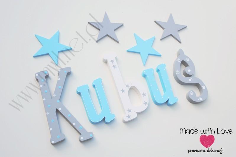 Literki imię dziecka na ścianę do pokoju - 3d 25cm - wzór MWL139 kubuś jakub kuba