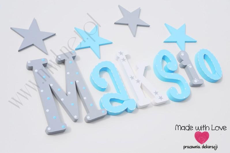 Literki imię dziecka na ścianę do pokoju - 3d 30cm - wzór MWL139 maksymilian maksio maks