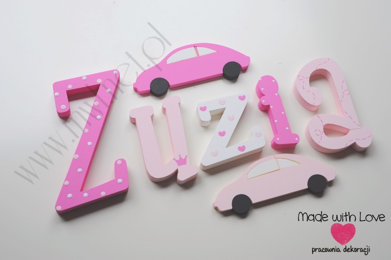 Literki imię dziecka na ścianę do pokoju - 3d 20cm - wzór MWL181 zuzia zuzka zuzanna zuza