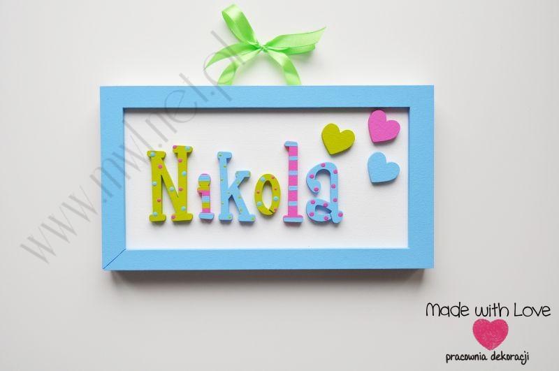 Tabliczka z imieniem dziecka - wzór T24 nikola nikola