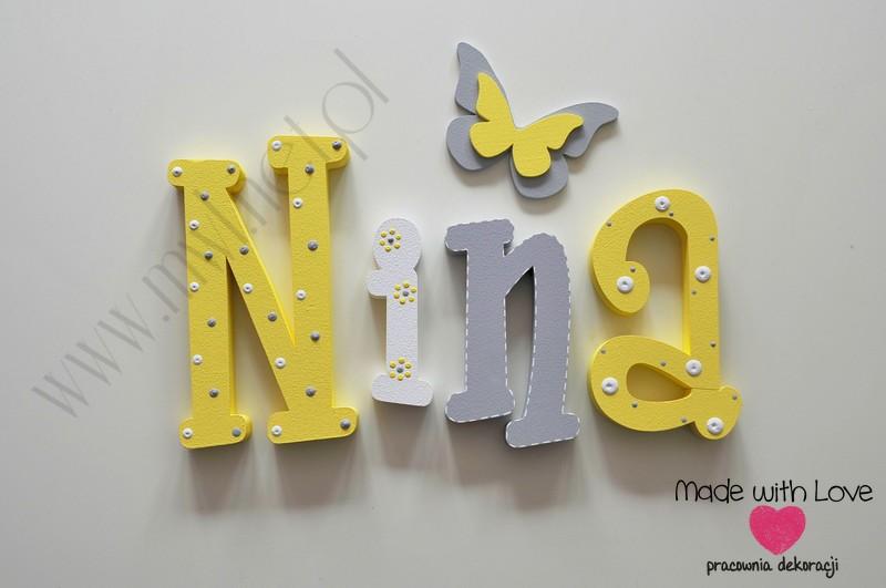 Literki imię dziecka na ścianę do pokoju - 3d 30cm - wzór MWL195 nina ninka