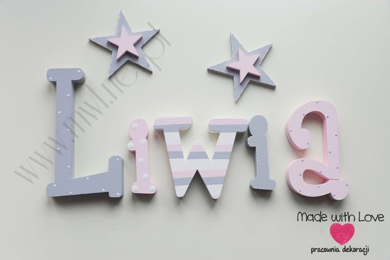 Literki imię dziecka na ścianę do pokoju - 3d 20cm - wzór MWL197