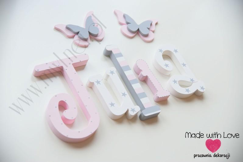 Literki imię dziecka na ścianę do pokoju - 3d 20cm - wzór MWL200 julia julka julcia jula