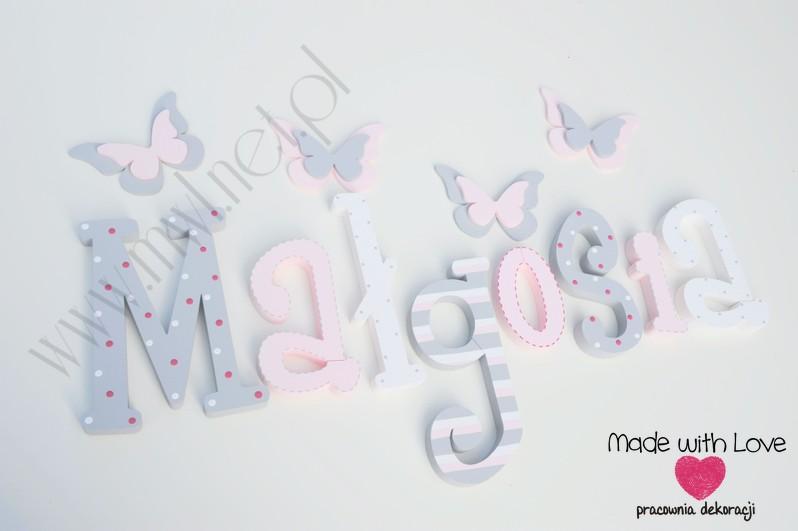 Literki imię dziecka na ścianę do pokoju - 3d - wzór MWL16 gosia małgosia małgorzata gośka misia