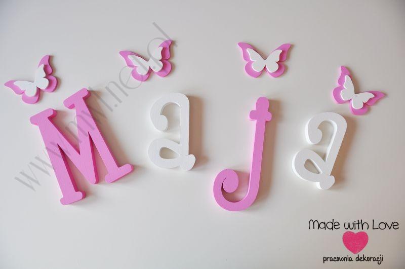 Literki imię dziecka na ścianę do pokoju - 3d - wzór MWL17 maja maja