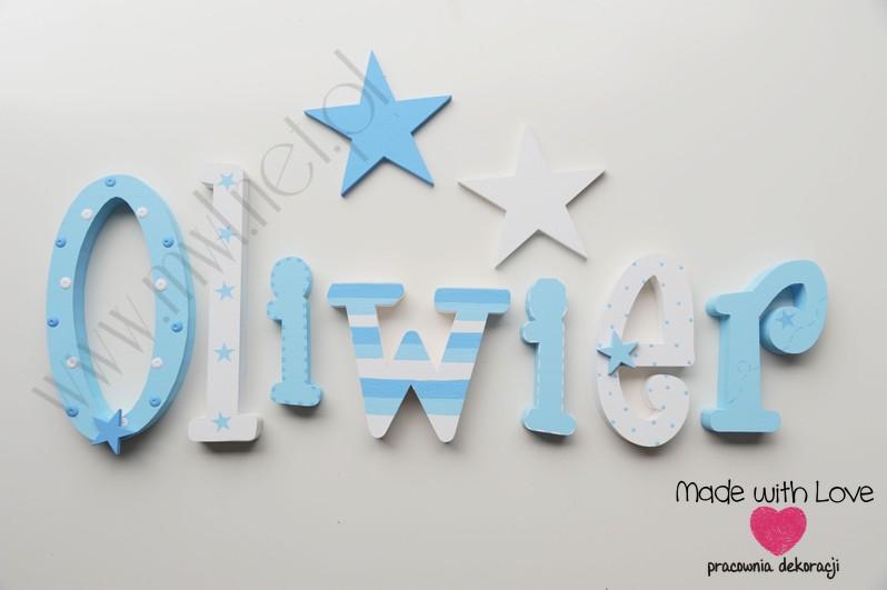 Literki imię dziecka na ścianę do pokoju - 3d 25cm - wzór MWL205 MD