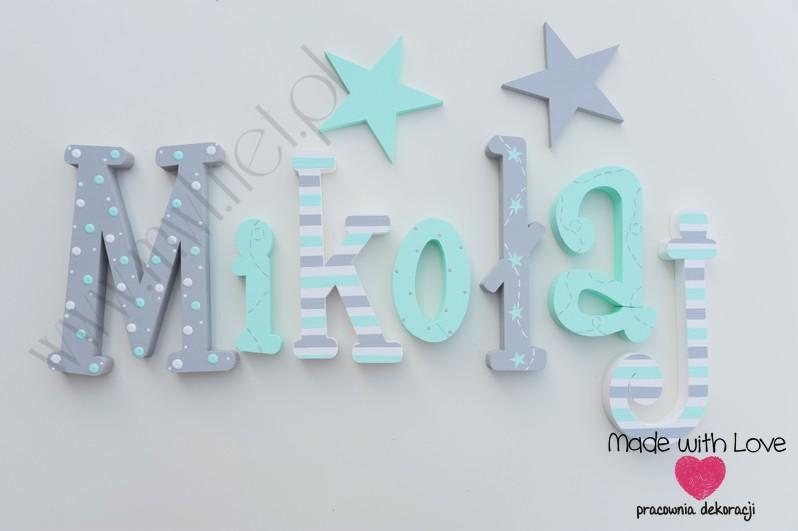 Literki imię dziecka na ścianę do pokoju - 3d 25cm - wzór MWL212 mikołaj mikuś miki