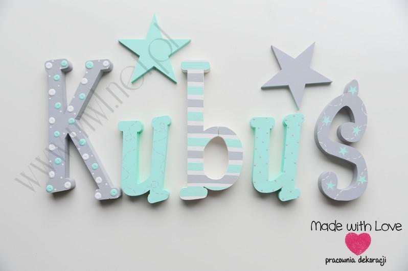 Literki imię dziecka na ścianę do pokoju - 3d 30cm - wzór MWL212 kubuś kuba jakub