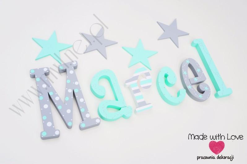 Literki imię dziecka na ścianę do pokoju - 3d 30cm - wzór MWL212 marcel marcelek