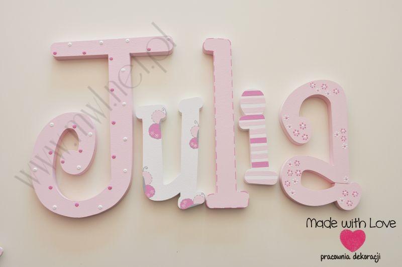 Literki imię dziecka na ścianę do pokoju - 3d - wzór MWL111 julia julia