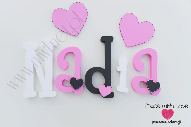 Imię Nadia - czarny+różowy