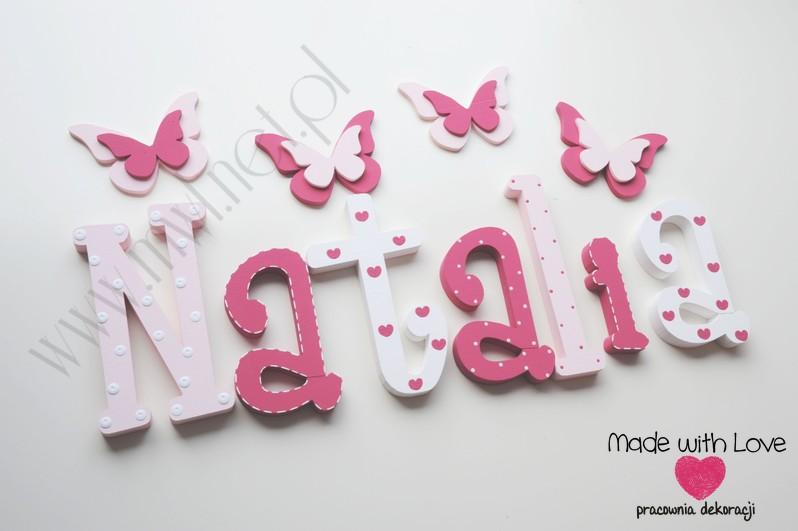 Literki imię dziecka na ścianę do pokoju - 3d - wzór MWL1 natalia nati natalka lenka