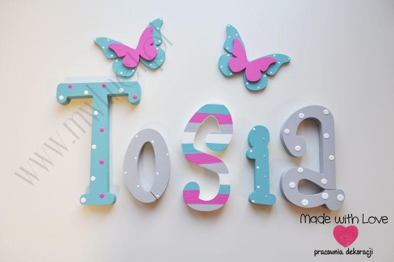 Literki imię dziecka na ścianę do pokoju - 3d - wzór MWL2 tosia antosia antonina tosia