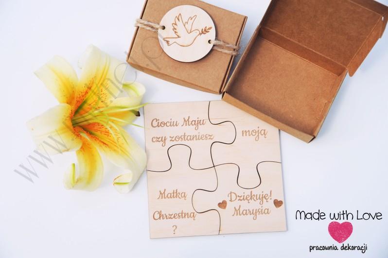 Zapytania dla Rodziców Chrzestnych - puzzle w pudełku  puzzle chrzest zapytania prośby