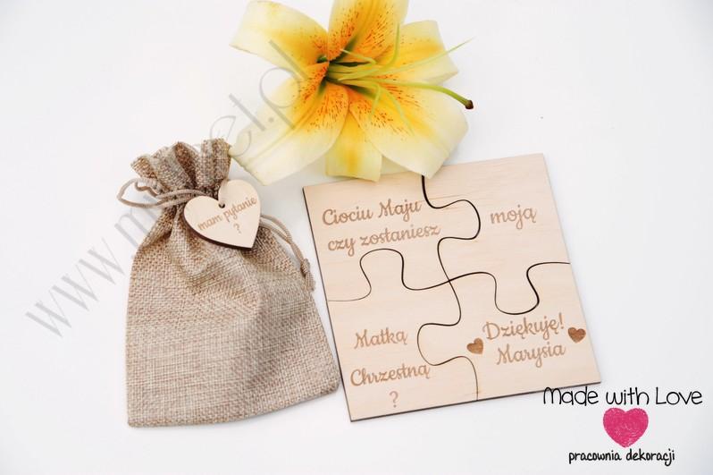 Zapytania dla Rodziców Chrzestnych - puzzle w woreczku  puzzle chrzest zapytania prośby