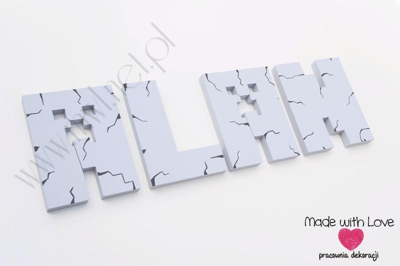 LITERKI imię dziecka na ścianę do pokoju - 3d Minecraft - szare minecraft gra
