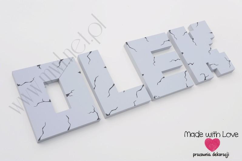LITERKI imię dziecka na ścianę do pokoju - 3d Minecraft - szare olek oluś aleksander