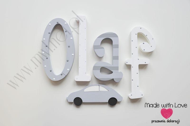 Literki imię dziecka na ścianę do pokoju - 3d 25cm - wzór MWL120 olaf olafek