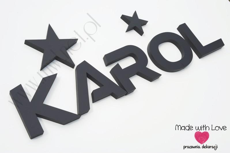 Litery młodzieżowe - czarne karol karolek