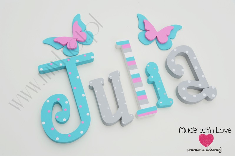 Literki imię dziecka na ścianę do pokoju - 3d 25 cm - wzór MWL2 julia julka julcia