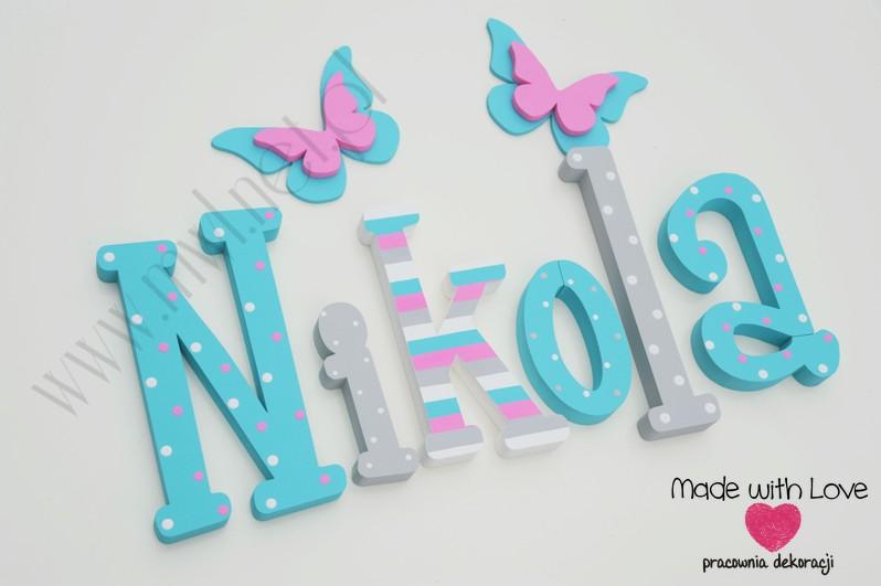 Literki imię dziecka na ścianę do pokoju - 3d 25 cm - wzór MWL2 nikola niki nikosia nikolka