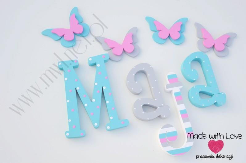 Literki imię dziecka na ścianę do pokoju - 3d 25 cm - wzór MWL2 maja majka