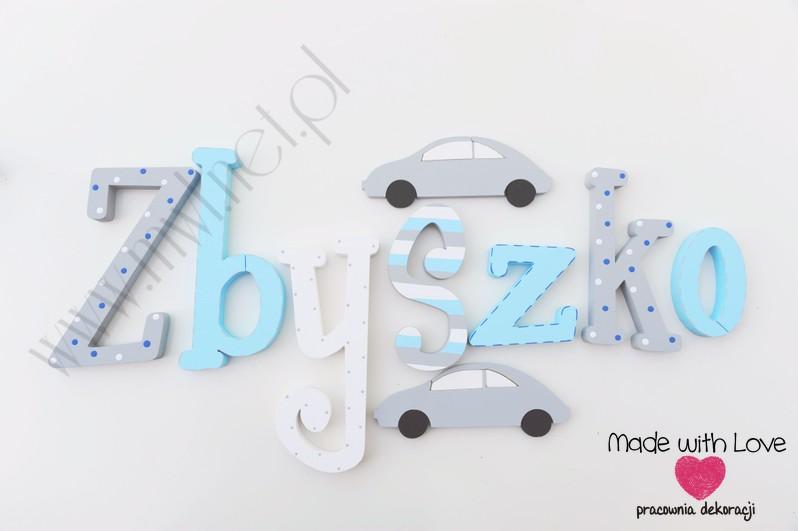 Literki imię dziecka na ścianę do pokoju - 3d 25 cm- wzór MWL3 zbyszko