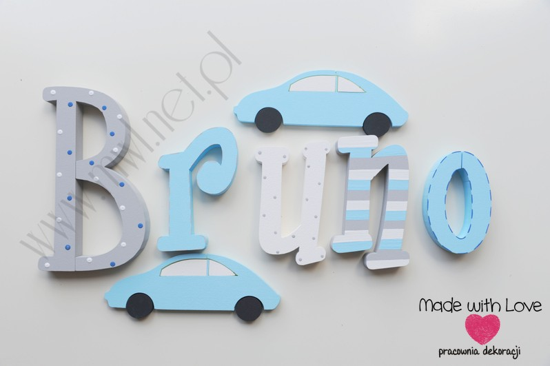 Literki imię dziecka na ścianę do pokoju - 3d 25 cm- wzór MWL3 Bruno