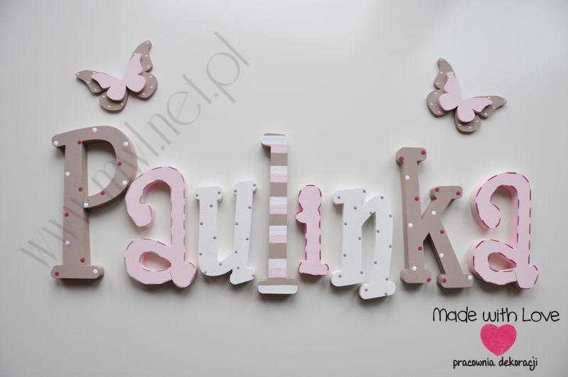 Literki imię dziecka na ścianę do pokoju - 3d - wzór MWL20 paulinka paula paulina paulinka