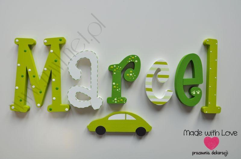 Literki imię dziecka na ścianę do pokoju - 3d 25 cm - wzór MWL4 marcel marcelek