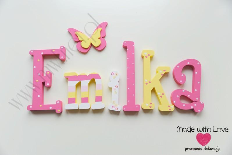 Literki imię dziecka na ścianę do pokoju - 3d 25 cm - wzór MWL5 emilka emilia