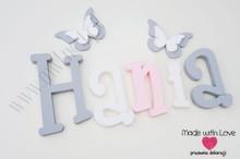 Imię Hania - szaro-biało-różowa