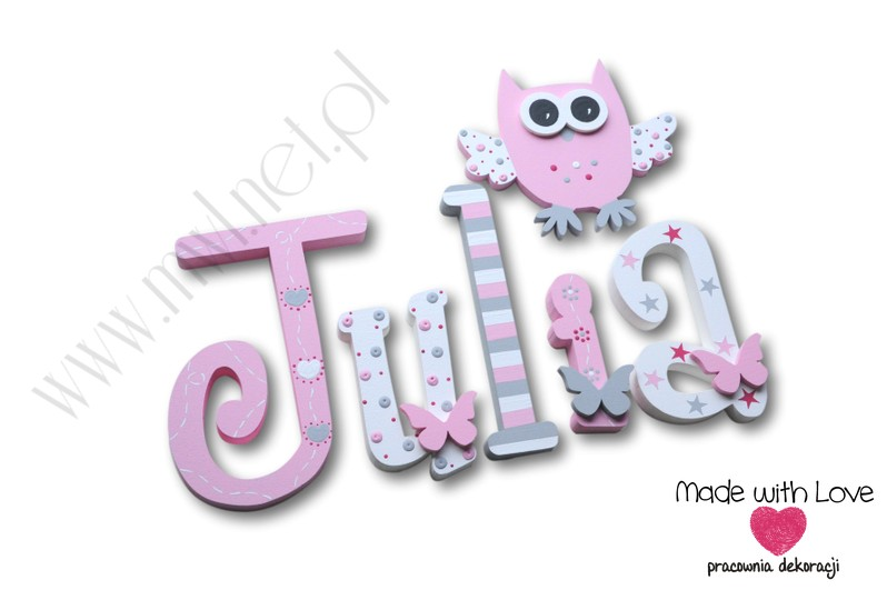 Literki imię dziecka na ścianę do pokoju - 3d 20cm - wzór MWL216MD julia julka julcia jula
