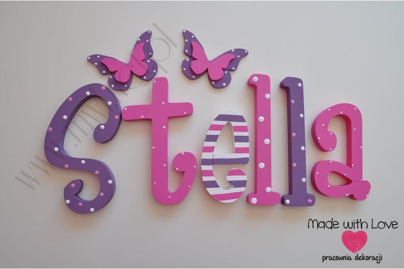 Literki imię dziecka na ścianę do pokoju - 3d 25 cm - wzór MWL7 stella