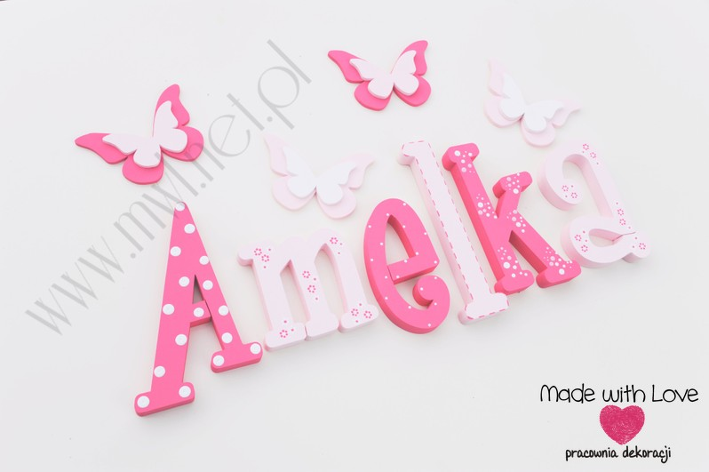 Literki imię dziecka na ścianę do pokoju - 3d 25 cm - wzór MWL10 amelia amelka mela