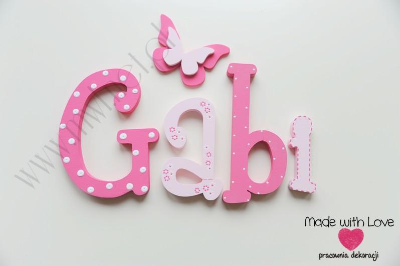 Literki imię dziecka na ścianę do pokoju - 3d 25 cm - wzór MWL10 gabi gabrysia