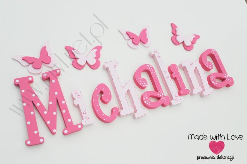 Literki imię dziecka na ścianę do pokoju - 3d 25 cm - wzór MWL10 misia michasia michalina
